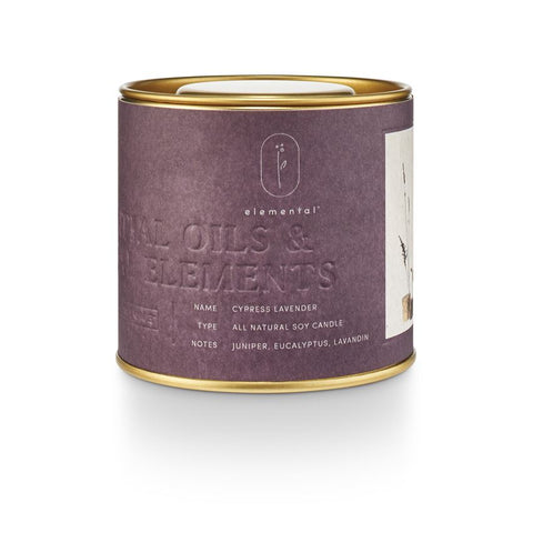 Elemental Natural Tin Candle Cypress Lavender