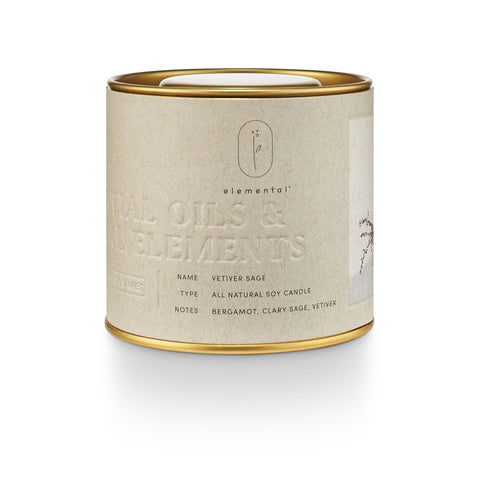 Elemental Natural Tin Candle Vetiver Sage