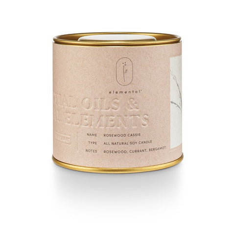 Elemental Natural Tin Candle Rosewood Cassis