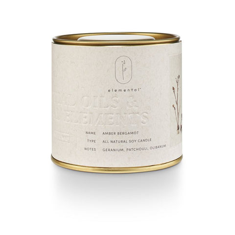 Elemental Natural Tin Candle Amber Bergamot