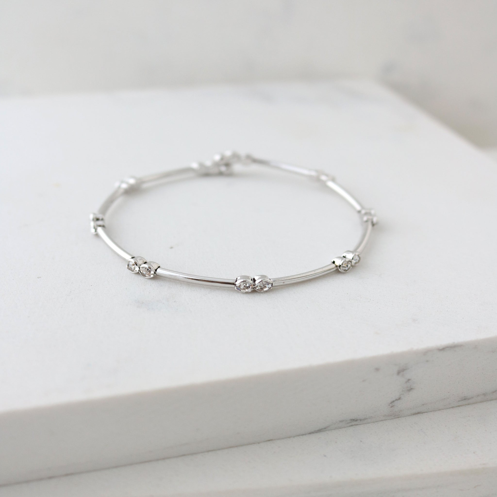 Lover's Tempo Bracelet Gemini Crystal Bangle - Silver