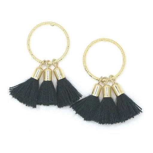 Lover's Tempo Earrings Duster Tassel - Black