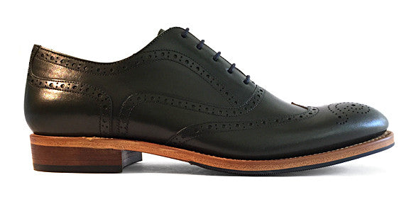 Men's Goodyear Welted Wingtip Brogue Dark Green