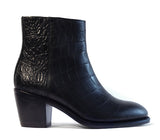 Women's Goodyear Welted Zip Boot Black Croco
