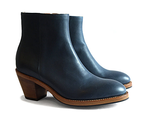 Women's Goodyear Welted Zip Boot Navy