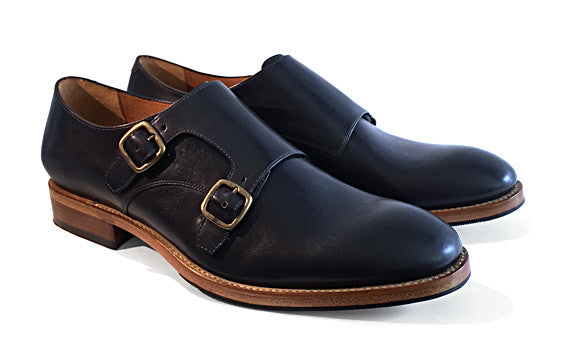 Men's Goodyear Welted Two-strap Monk Gunmetal Grey.
