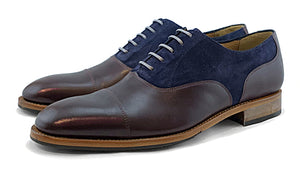 Men's Goodyear Welted Toe Cap Oxford Burgundy and Navy
