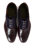 Men's Goodyear Welted Two-Tone Burgundy and Navy Oxford