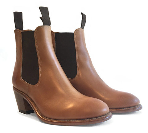 Women's Goodyear Welted Chelsea Boot Cognac Tan