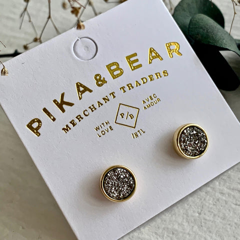 Pika & Bear Earrings Zella Gold Plated Druzy Stud - Silver Cabochon