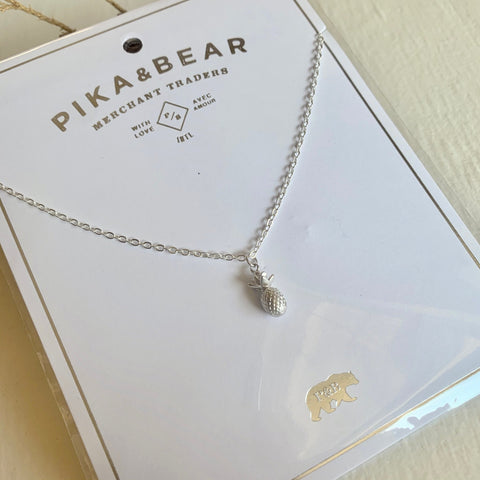 Pika & Bear Necklace Aloha Pineapple Pendant - Silver