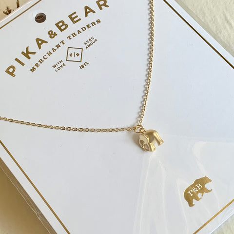 Pika & Bear Necklace Sheldrick Baby Elephant Charm - Gold