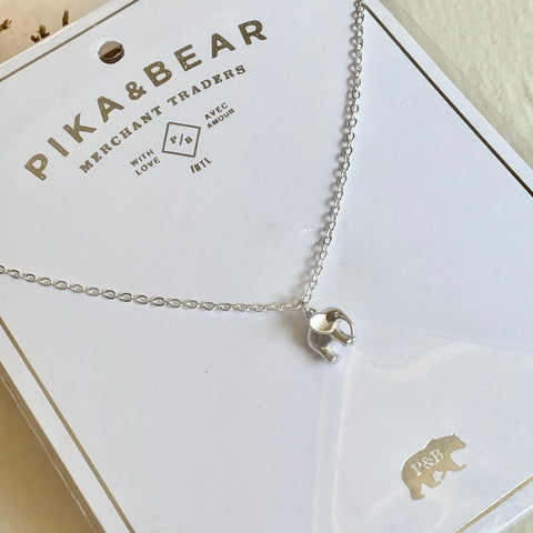 Pika & Bear Necklace Sheldrick Baby Elephant Charm - Silver