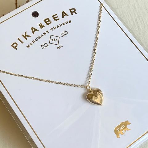 Pika & Bear Necklace Heart Shaped Locket - Gold