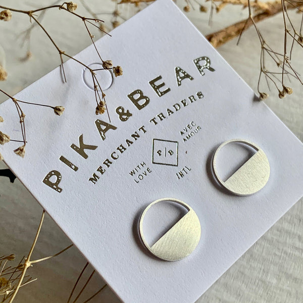 Pika & Bear Earrings Horizon Silhouette Stud - Silver