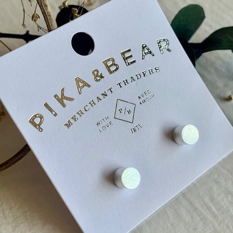 Pika & Bear Earrings Cylin Stud - Silver