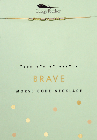 Lucky Feather Morse Code Necklace - BRAVE