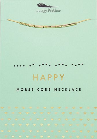Lucky Feather Morse Code Necklace - HAPPY