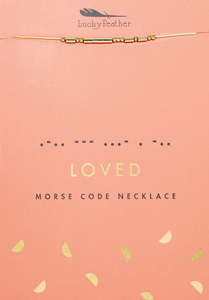 Lucky Feather Morse Code Necklace - LOVED