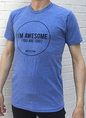 Mefits Men's T-Shirt, Blue 'I'm Awesome'.
