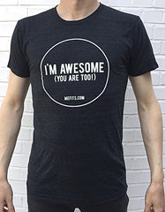 Mefits Men's T-Shirt, Charcoal 'I'm Awesome'.