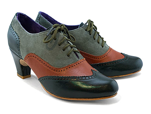 Women's MV-mid heel Wingtip Brogue Forest, Cognac & Grey