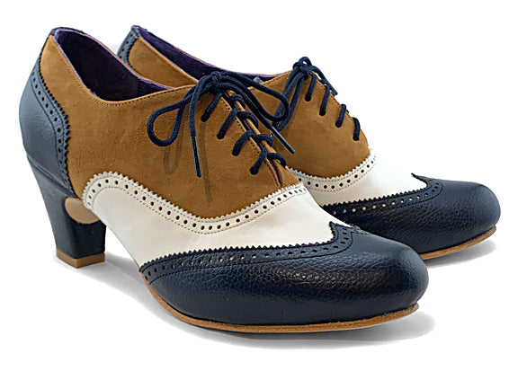Women's MV-mid heel Wingtip Brogue Navy, White & Tan.