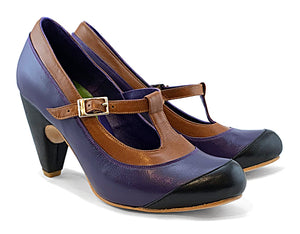 Women's MV7 T-Strap Purple, Cognac & Black