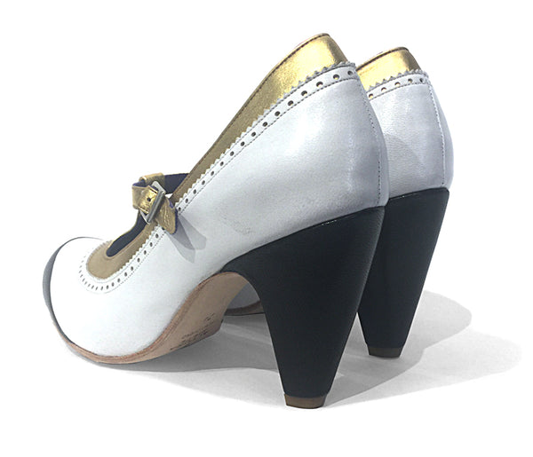 Women's MV7 T-Strap White, Black and Gold