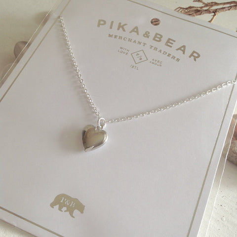 Pika & Bear Necklace Heart Shaped Locket - Silver