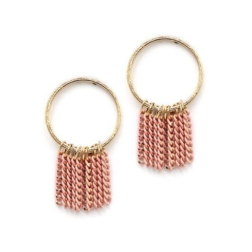 Lover's Tempo Earrings Olympia Fringe Hoop - Pink
