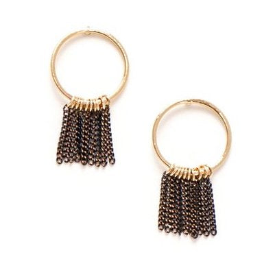 Lover's Tempo Earrings Olympia Fringe Hoop - Black
