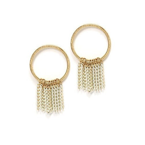 Lover's Tempo Earrings Olympia Fringe Hoop - White