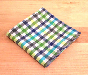 Accessories - Pocket Square - Green, Blue Plaid