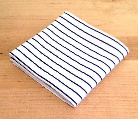 Accessories - Pocket Square - White, Blue stripe