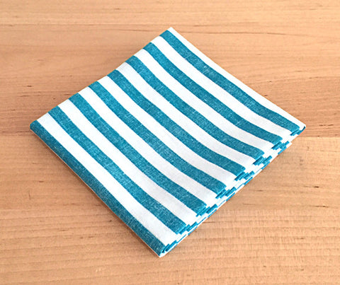 Accessories - Pocket Square - Teal, White stripe