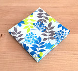 Accessories - Pocket Square - Blue and Yellow Foliage on White