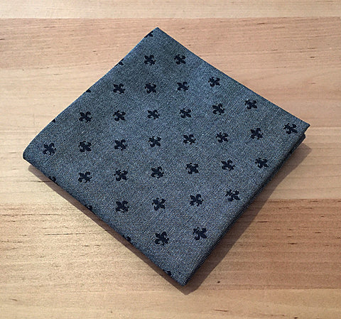 Accessories - Pocket Square - Fleur de lis on Grey