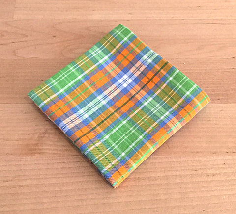 Accessories - Pocket Square - Orange, Green Plaid