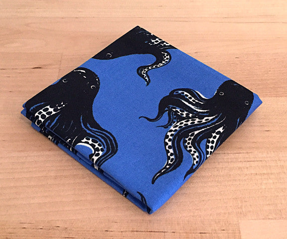 Accessories - Pocket Square - Blue Octopus