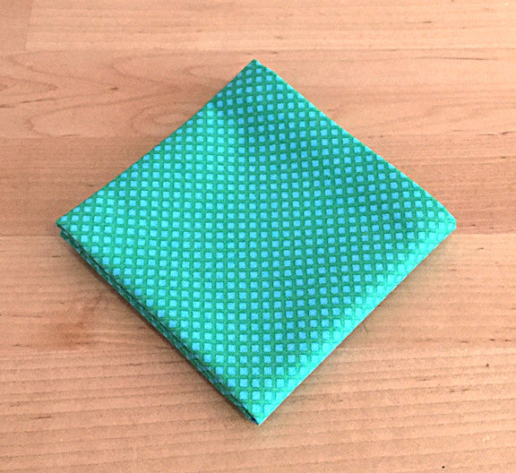 Accessories - Pocket Square - Green on Green Diamond Pattern