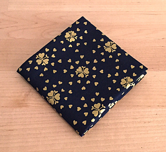 Accessories - Pocket Square - Gold Hearts on Deep Navy Blue