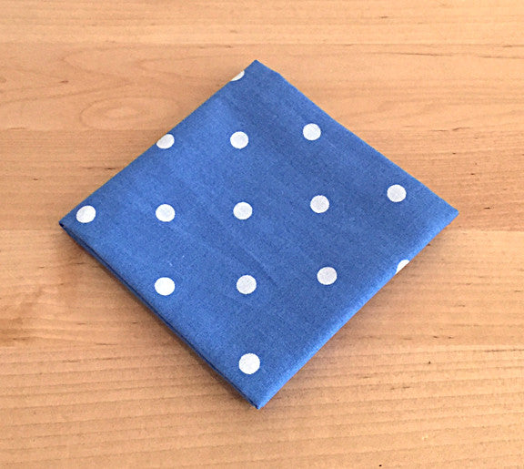 Accessories - Pocket Square - Blue with White Polka Dots