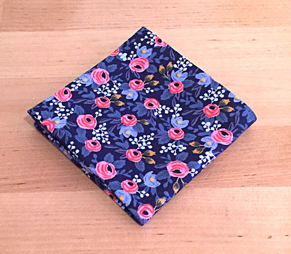 Accessories - Pocket Square - Floral Pattern Blue