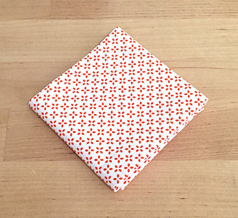 Accessories - Pocket Square - Orange X on White