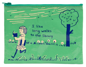 Zipper Pouch I Like Long Walks To The Library