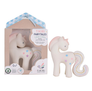 Tikiri Fairytales Cotton Candy Unicorn - Natural Rubber Rattle with Crinkle Tail
