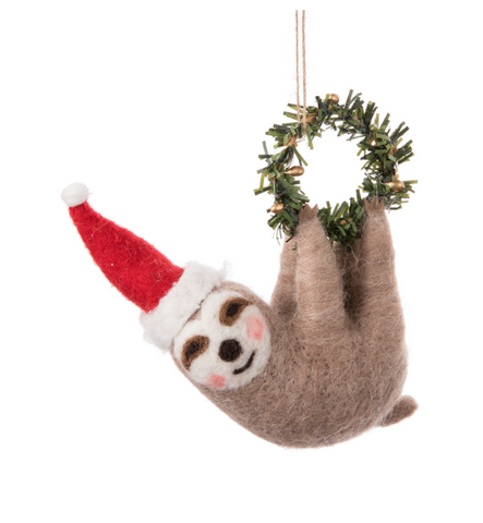 Abbott Sloth with Small Wreath Ornament