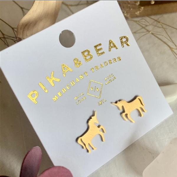 "Pika & Bear Earrings ""Tesias"" Unicorn Silhouette Stud - Gold"