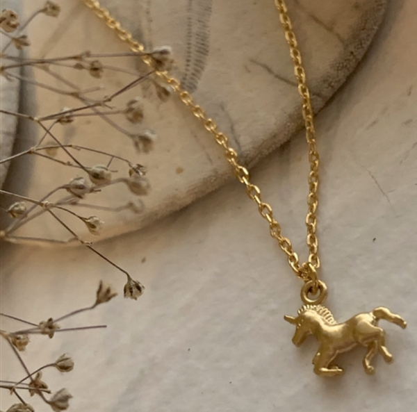 "Necklace ""Astra"" Tiny Unicorn Charm Gold"
